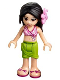 Minifig No: frnd199  Name: Friends Martina, Lime Wrap Skirt, Dark Pink and White Swimsuit Top, Bright Pink Flower