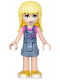 Minifig No: frnd202  Name: Friends Stephanie, Denim Overalls Skirt, Dark Pink Top