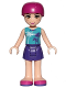 Minifig No: frnd207  Name: Friends Mia, Dark Purple Skirt, Medium Azure Top with Palm Trees, Helmet