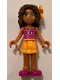 Minifig No: frnd208  Name: Friends Andrea, Bright Light Orange Layered Skirt, Magenta Top with White Polka Dots and Bow, Bright Light Orange Flower
