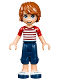 Minifig No: frnd214  Name: Friends Julian, Dark Blue Cropped Trousers, Red Striped Top