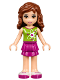 Minifig No: frnd215  Name: Friends Olivia, Magenta Layered Skirt, Lime Top with Heart Electron Orbitals Pattern