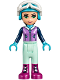 Minifig No: frnd216  Name: Friends Emma, Light Aqua Trousers, Medium Lavender Ski Vest, Helmet, Goggles