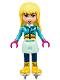 Minifig No: frnd217  Name: Friends Stephanie, Light Aqua Skirt, Dark Azure Top, Skates
