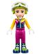 Minifig No: frnd222  Name: Friends Olivia, Magenta Trousers, Ski Jacket, Helmet, Goggles