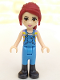 Minifig No: frnd224  Name: Friends Mia, Medium Blue Overalls, Striped Shirt, Dark Red Hair