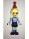 Minifig No: frnd225  Name: Friends Stephanie, Dark Blue Skirt, Bright Light Blue Fair Isle Sweater with Snowflakes Pattern, Red Christmas Hat