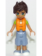 Minifig No: frnd231  Name: Friends Liam, Sand Blue Long Shorts, Lime and Yellow T-Shirt, Life Jacket