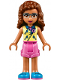 Minifig No: frnd241  Name: Friends Olivia, Bright Light Yellow Vest over Dark Azure Shirt and Dark Pink Tie, Dark Pink Shorts