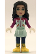Minifig No: frnd244  Name: Friends Emma, Light Aqua Skirt, Magenta Top, Dark Blue Leggings and Yellow Boots
