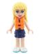 Minifig No: frnd246  Name: Friends Stephanie, Dark Blue Layered Skirt, Medium Azure and Dark Purple Top, Life Jacket