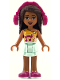 Minifig No: frnd249  Name: Friends Andrea, Light Aqua Layered Skirt, Bright Light Orange Top with Winged Music Notes, Headphones