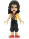 Minifig No: frnd252  Name: Friends Vicky, Black Cropped Trousers, Bright Light Orange Vest
