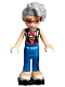 Minifig No: frnd254  Name: Friends Dottie, Blue Trousers, Black Vest over Red Shirt with Cherries, Black Roller Skates