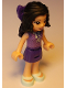 Minifig No: frnd259  Name: Friends Emma, Dark Purple Skirt, Medium Lavender Top, Light Aqua Shoes, Dark Purple Bow