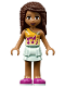 Minifig No: frnd260  Name: Friends Andrea, Light Aqua Layered Skirt, Bright Light Orange Top with Winged Music Notes