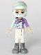 Minifig No: frnd261  Name: Friends Emma, White Trousers, Light Aqua and Medium Lavender Racing Jacket, Light Aqua Racing Helmet with Black Ponytail