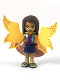 Minifig No: frnd271  Name: Friends Andrea, Shiny Blue Vest over Magenta Top, Dark Blue Skirt, Garish Butterfly Cape and Magenta Skirt, Gold Boots with Dark Blue Trim