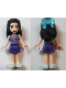Minifig No: frnd283  Name: Friends Emma, Dark Purple Skirt, Medium Lavender Top, Light Aqua Shoes, Bow