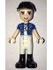 Minifig No: frnd286  Name: Friends Zack, White Riding Pants, Blue Shirt over Medium Blue T-Shirt, Black Construction Helmet