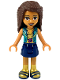 Minifig No: frnd292  Name: Friends Andrea, Dark Blue Skirt, Gold Top with Dark Turquoise Vest