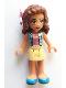 Minifig No: frnd298  Name: Friends Olivia, Bright Light Yellow Skirt, Dark Pink Top, Blue Jacket, Flower
