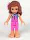 Minifig No: frnd307  Name: Friends Olivia, Dark Pink Wetsuit, Flower