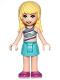 Minifig No: frnd314  Name: Friends Stephanie, Medium Azure Skirt, Striped Top