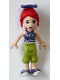 Minifig No: frnd326  Name: Friends Mia, Lime Cropped Trousers, Striped Top, Bow