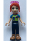 Minifig No: frnd328  Name: Friends Mia, Dark Blue Trousers, Lime Top, Red Hair, Sunglasses