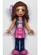 Minifig No: frnd332  Name: Friends Olivia, Dark Pink Skirt and Dark Blue Leggings, Dark Pink Top, Blue Jacket, Bow