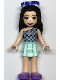 Minifig No: frnd333  Name: Friends Emma, Light Aqua Layered Skirt, Light Aqua and Bright Pink Scallop Top, Sunglasses