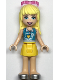 Minifig No: frnd334  Name: Friends Stephanie, Yellow Skirt, Medium Azure and White Top, Sunglasses