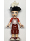 Minifig No: frnd336  Name: Friends Zack, Dark Red Cropped Trousers Large Pockets, Red and White Striped Shirt, Pirate Tricorne Hat, White Plume