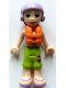 Minifig No: frnd337  Name: Friends Mia, Lime Cropped Trousers,  Medium Blue Top with 3 Butterflies, Lavender Ski Helmet with Dark Red Hair, Life Jacket