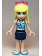 Minifig No: frnd345  Name: Friends Stephanie, Dark Blue Layered Skirt, Medium Azure and White Top, Sunglasses