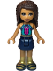 Minifig No: frnd346  Name: Friends Andrea, Dark Turquoise Halter Top with Magenta Stripes and Dots, Dark Blue Skirt, Gold Boots and Belt