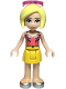Minifig No: frnd347  Name: Friends Roxy, Coral Halter Top with Bright Light Green Leaves, Yellow Skirt, Silver Shoes, Sunglasses