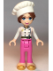 Minifig No: frnd354  Name: Friends Lillie, White Jacket, Dark Pink Pants, White Cook's (Toque) Hat with Hair