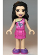 Minifig No: frnd357  Name: Friends Emma, Dark Pink Layered Skirt, Dark Pink Top with Geometric Triangles, Lavender Shoes