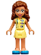 Minifig No: frnd359  Name: Friends Olivia, Bright Light Yellow Dress with Heart Buttons, Blue Shoes