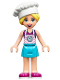 Minifig No: frnd361  Name: Friends Stephanie, Medium Azure Skirt, Magenta Top with Bright Pink Apron, Chef's Toque