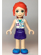 Minifig No: frnd362  Name: Friends Mia, Purple Shorts, White Vet Vest Top, Red Hair