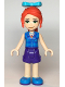 Minifig No: frnd363  Name: Friends Mia, Purple Shorts, Dark Azure Plaid Shirt, Red Ponytail, Bow