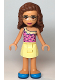 Minifig No: frnd364  Name: Friends Olivia, Bright Light Yellow Skirt, Dark Pink Top, Dark Azure Shoes