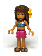 Minifig No: frnd365  Name: Friends Andrea, Magenta Layered Skirt, Dark Blue Halter Top with Gold Trim, Flower