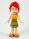 Minifig No: frnd369  Name: Friends Mia, Olive Shorts, Orange and Yellow Top with Lightning, 3-D Glasses