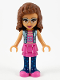 Minifig No: frnd370  Name: Friends Olivia, Dark Pink Skirt and Dark Blue Leggings, Dark Pink Top with Blue Jacket