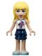 Minifig No: frnd371  Name: Friends Stephanie, Dark Blue Layered Skirt, White Top with Palm Trees