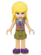 Minifig No: frnd375  Name: Friends Stephanie, Olive Green Shorts and Top, Dark Purple Shoes